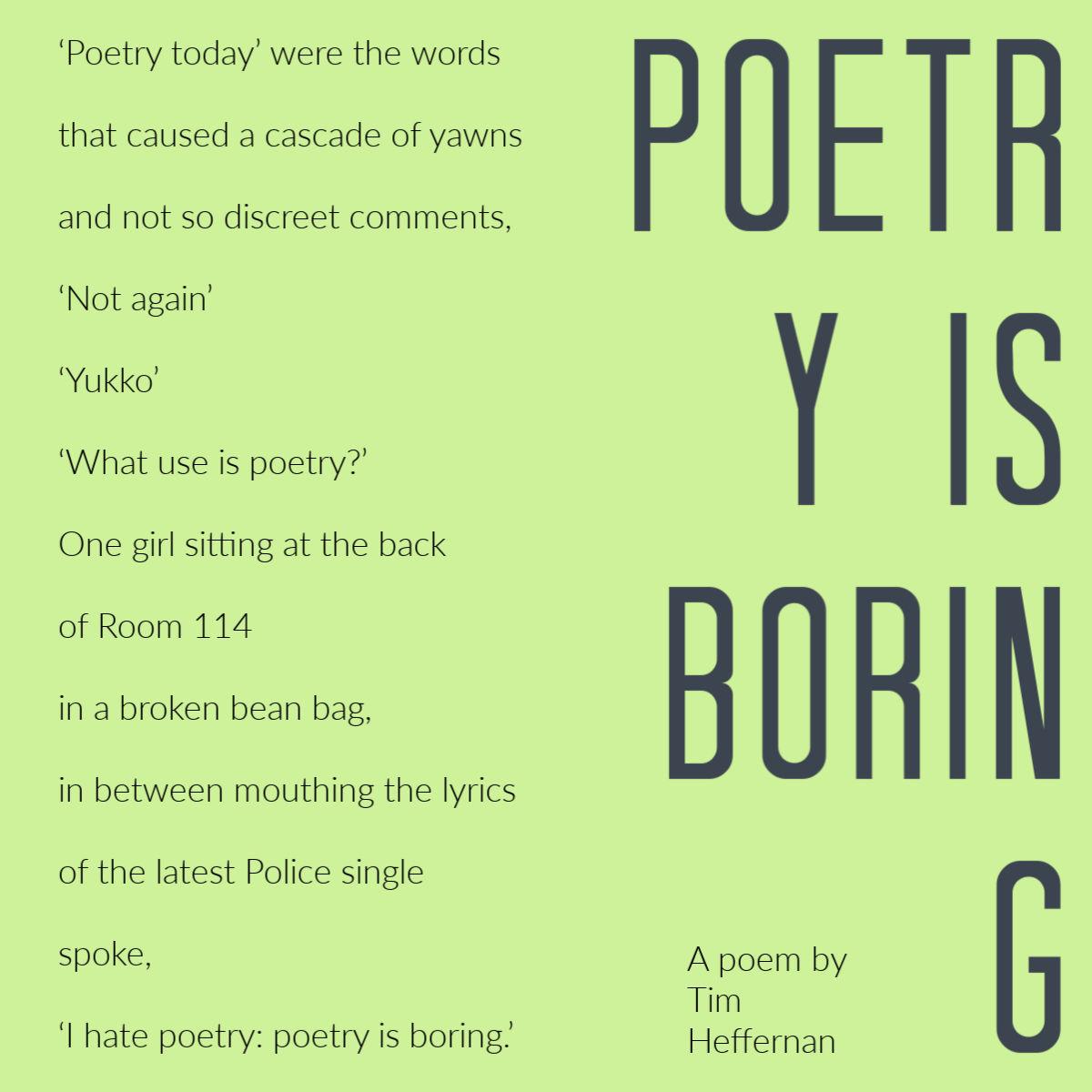 Poetry is Boring by Tim Heffernan